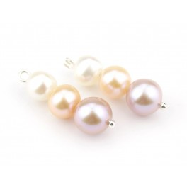 Pair of 3Genuine Freshwater Pearl 3 pearls assembled with different diameter and color to create pendant or earring