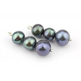 Véritable Perle d'eau douce Paire de 3 perles noires diamètre différents Création de boucle d'oreille Pendentif