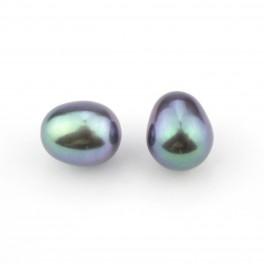 Lot de 2 perles de culture forme goutte 9 x 7 mm Perle d'eau douce couleur noire Perle semi-percée pour boucle d'oreille