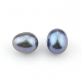 Set of 2 Genuine Freshwater Pearl Drop shape 9 x 7 mm Black pearl color Half drilled to create pendant or earrings