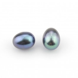 Set of 2 Genuine Freshwater Pearl Drop shape 9 x 7 mm Black pearl color Half drilled to create pendant or earrings 5