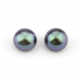 One pair Genuine Freshwater Pearl button shape 7 x 6 mm Black half drilled Pearl Natural findings to create earrings 1