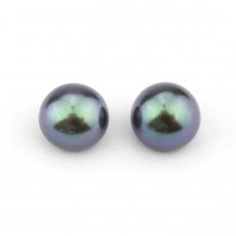 Une paire de perles de culture forme bouton 7 x 6 mm Perle d'eau douce Noire semi-percée pour boucle d'oreille 1
