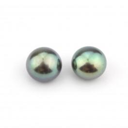 Une paire de perles de culture forme bouton 7 x 6 mm Perle d'eau douce Noire semi-percée pour boucle d'oreille 2