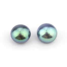One pair Genuine Freshwater Pearl button shape 7 x 6 mm Black half drilled Pearl Natural findings to create earrings 4
