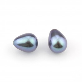 Set of 2 Genuine Freshwater Pearl Drop shape 8 x 6 mm Blue peacock Half drilled Pearl Natural findings to create earrings