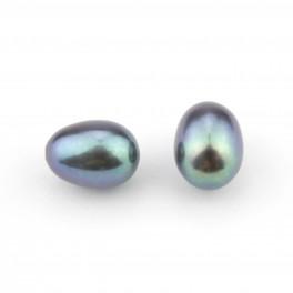 Lot de 2 perles de culture Forme grain de riz 6 x 8 mm Perle d'eau douce Vert bleu Semi-percée pour boucle d'oreille
