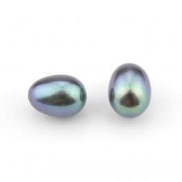 Set of 2 Genuine Freshwater Pearl Rice shape 8 x 6 mm Green blue Half drilled Pearl Natural findings to create earrings