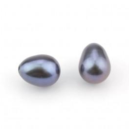 Lot de 2 perles de culture Forme goutte 6 x 8 mm Perle d'eau douce Bleu gris Semi-percée pour boucle d'oreille