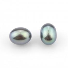 Lot de 2 perles de culture Forme grain de riz 6 x 8 mm Perle d'eau douce Vert irisé Semi-percée pour boucle d'oreille