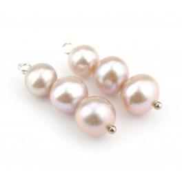 Paire de 3 Véritable Perle d'eau douce diamètres différents couleur Rose pale Elément de bijouterie pour boucle d'oreille