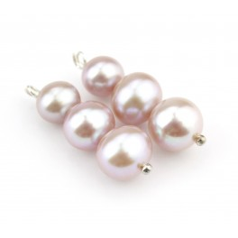 Pair of 3 Genuine Freshwater Pearls with different diameters Light Lavender color Natural Jewelry to create pendant or earrings