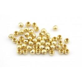 Lot de 10 perles de séparation granité Plaqué Or 18 carats Diamètre 3 mm Apprets de bijouterie pour création