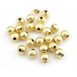 Lot de 4 perles de séparation granité Plaqué Or 18 carats Diamètre 5 mm Apprets de bijouterie pour la création de bijoux