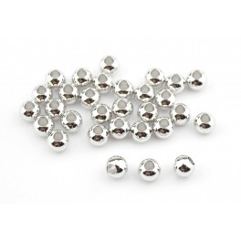Lot de 5 perles de séparation Plaqué Rhodium Blanc Diamètre 3 mm Apprets de bijouterie pour la création de bijoux