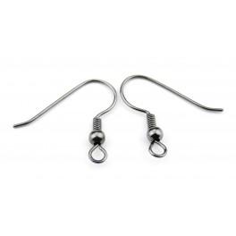 Boucle d'oreille Crochet Plaqué Rhodium Noir Appret de qualité professionnelle pour la création de bijoux