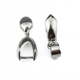 Lot de 2 Bélières 16 mm Plaqué Rhodium Noir Pour les créateurs de bijoux Apprêt de bijouterie Pour pendentif et collier