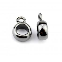 Lot de 2 Bélières rondes Plaquées rhodium Noir Pour chaine ou cordon Spécial création de bijoux pour pendentif et collier