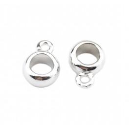 Lot de 2 Bélières rondes Plaquées rhodium blanc Pour chaine ou cordon Spécial création de bijoux pour pendentif et collier