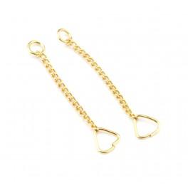 Paire de chainettes fines en Plaqué Or 24 carats Pour pendentif boucle d'oreille Appret de bijouterie pour creations