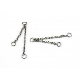 Double chainettes fines en Plaqué Rhodium Noir Double pendentif Appret de bijouterie pour creer des boucles d'oreille