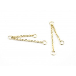 Pair of double thin chain 24 K Gold Plated Pendant with open ring Jewelery findings to create earrings