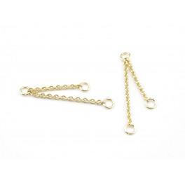Paire de double chainettes fines en Plaqué Or 24 carats Double pendentif Appret de bijouterie pour creer des boucles d'oreille