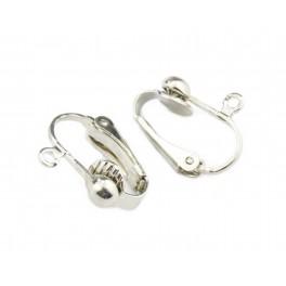 Boucle d'oreille clip Plaquées rhodium Argent Avec anneau d'accroche Pour oreille non percée Appret pour vos créations