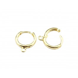 Boucle d'oreille Moyenne créole en Plaqué Or 24 carats Avec anneau d'accroche pour pendentif Pour les créateurs de bijoux