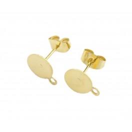 Boucle d'oreille Tige en Plaqué Or 24 carats Plateau et anneau Poussoirs adaptés Pour réaliser des pendentifs d'oreille