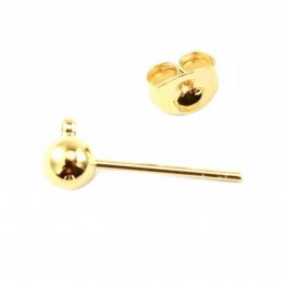 Pair of Earrings Stud ball 18K Gold Plated Ball 4 mm With soldered ring for pendant and Ear nuts For earrings making