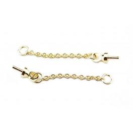 Paire de chainette fine avec Bélière en Plaqué Or 24 carats Pour perle semi percée pour boucle d'oreille et pendentif