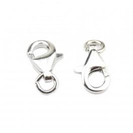 Lot de 2 Fermoirs en Argent Massif 925 Rhodié Mousqueton 9 x 6 mm Elément de bijouterie pour la création de collier ou bracelet