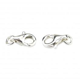 Lot de 2 Fermoirs mousquetons 9 mm en Argent Massif 925 Avec anneaux d'accroche Spécial création de bijoux