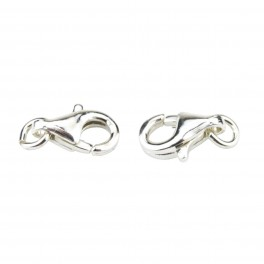 Set of 2 Lobster clasps 925 Solid Sterling Silver 9 mm with ring connector For necklace and bracelet
