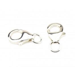 Lot de 2 Fermoirs mousquetons 12 mm en Argent Massif 925 Avec anneaux d'accroche Spécial création de bijoux