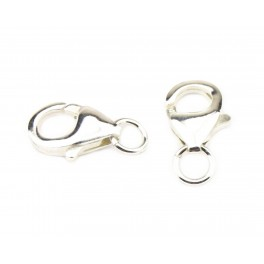 Set of 2 Lobster clasps 925 Solid Sterling Silver 12 mm with ring connector For necklace and bracelet