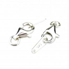 Kit de 2 Fermoirs en Argent Massif 925 Mousqueton 10 mm avec lame connecteur Pour la création de collier ou bracelet