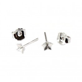 925 Sterling Silver Rhodium plated Pair of Earrings Studs Star cup 4.5 mm and Ear nuts for half drilled pearl