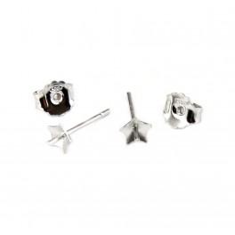 Boucle d'oreille Tige clou en Argent Massif 925 Rhodié Poussoir adaptés Coupelle étoile Pour perle semi percée
