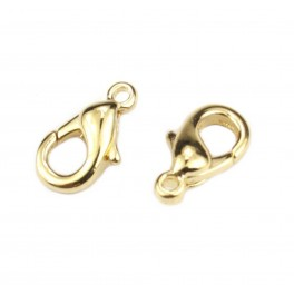 Lot de 2 Fermoirs type mousqueton 12 mm en Plaqué Or 24 carats Elément de bijouterie pour collier et bracelet