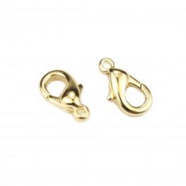 Lot de 2 Fermoirs type mousqueton 10 mm Plaqué Or 24 carats Base de qualité professionnelle pour la création de bijoux