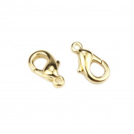 Set of 2 Lobster clasp 10 mm 24K Gold Plated Professionnal quality findings For jewelry making