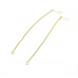 Clou d'oreille et chainette en Plaqué Or 24 carats Appret artisanal de bijouterie pour vos creations personnalisées