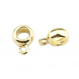 Lot de 2 Bélières rondes en Plaqué Or 18 carats Pour chaine ou cordon Pour la création de pendentif et collier