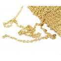 Thin Chain by meter link 1 mm 18KGP Gold Plated Findings for jewelry creator to make personnalized earrings pendant