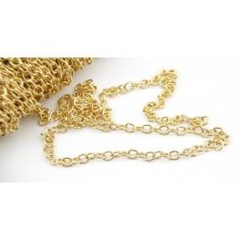 Chaine 50 cm maille 2,7 mm en Plaqué Or 18 carats Appret professionnel pour la création de bijoux Collier Bracelet Pendentif