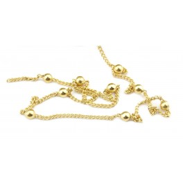 Chaine 50 cm Très fine maille 1,3 mm avec perle 3 mm en Plaqué Or 18 carats Appret pour la création de bijoux