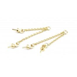 Double chainettes fines avec Bélières en Plaqué Or 18 carats Pour perle semi percée pour boucle d'oreille et pendentif