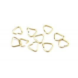Lot de 12 Anneaux Triangle ouverts 4,5 mm en Plaqué Or 24 carats Appret de bijouterie pour la création de bijoux